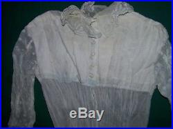Antique Wedding Dress 1830's White Floral with slip and bonnet old hand made