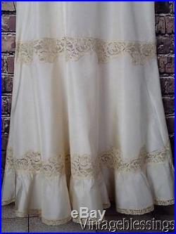 Antique c1920-30s Cotton Chiffon Dress French Alencon Lace Slip