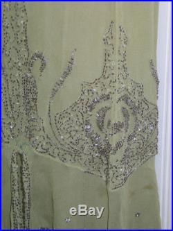 Antique c1923 Silk Chiffon Dress & Slip Silk Chiffon MERCURY Glass BEAD FRENCH