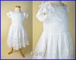 Antique hand made Edwardian girls dress with under slip white lace confirmation