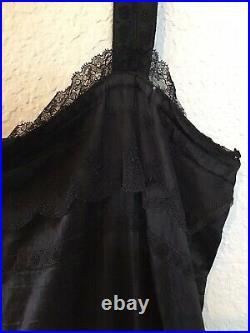 Antique magnolia boho pearl black satiny cotton tank slip dress os Lots Of Lace