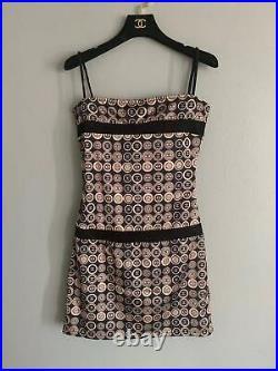 Auth Chanel Vintage CC Logo Slip Dress Size34 Us2