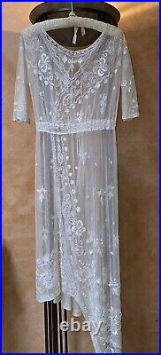 Authentic 1920 /1930s Beaded Embroidered White Lace Dress & Slip XS Rare
