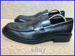 Authentic Gucci Vintage Loafers Slip On Black Leather Logo Strap Size 10 D