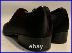 Authentic Gucci Vintage Loafers Slip On Black Satin Logo Strap Size 43.5 US 10