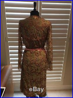 Avoca Anthology Sequined Floral Tulle Sheer Midi Wrap Dress with slip Size 3 M-L
