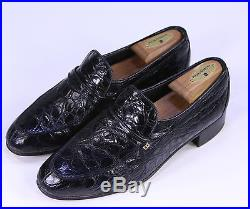 dac207e84725a BALLY Vintage Black Slip-On Crocodile Dress Loafers Men's US 8 D