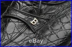 BALLY Vintage Genuine Caiman Black Leather Logo 10 M Mens Slip On Loafers Shoes