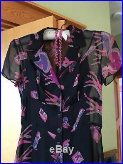BETSEY JOHNSON VINTAGE Black Sz 2-4 100% Silk Ballet, Blue Roses Slip Dress EUC