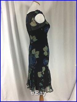 BETSEY JOHNSON VINTAGE Sz. 6 100% Silk & Lace Blue Roses Lingerie Slip Dress