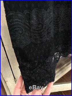 BETSY JOHNSON Vintage 2002 Black Lace Dots Slip Dress Classic Goth Size Small