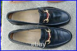 BOX Nice Vintage Gucci Horsebit Moccasin Loafers Slip Ons 7D 40.5 Black Dust Bag