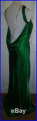 Bari Jay VTG Emerald Green Rhinestone Bridesmaid Prom Formal Slip Dress L 13/14