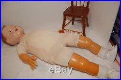 Beautiful 30 1960's Effanbee Baby doll Eyelet Lace Christening dress, hat slip