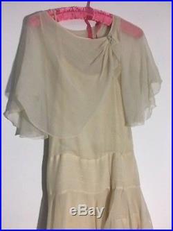 Beautiful Antique 1920s Chiffon Dress with Slip, Pretty Good Condition