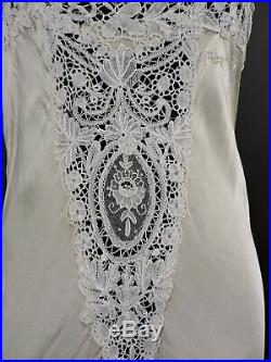 Beautiful Antique 1930s Bias Silk Lingerie Dress Slip W Hand Made Brussels Lace
