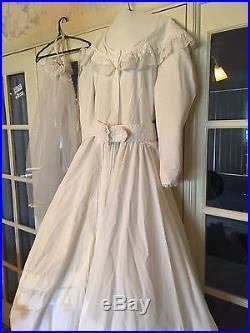 Beautiful Hand Accented Wedding Dress, Crinoline Slip, Veil and Ornamented Fan