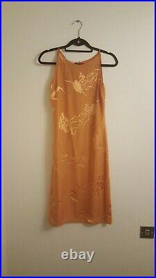 Beautiful Vintage Valentino Midi Dress Orange Silk Size 8