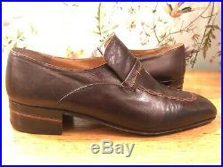 Bellesco Sito ARTIOLI Vintage Leather Brown Handmade Slip On Italian Shoes 10 UK