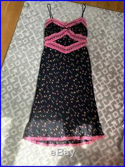 Betsey Johnson 100% silk vintage black floral slip dress size 8 small medium