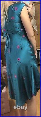 Betsey Johnson Bedroom Silk Dress Pinup Cap Sleeve 50s Lip Marilyn Teal Vintage