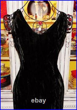 Betsey Johnson Dress VINTAGE 90's Black CRUSHED VELVET Evening Party Medium 6 8