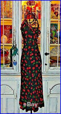 Betsey Johnson Dress VINTAGE Black RED CHERRIES Slip Wiggle Sheath Party M 6 8