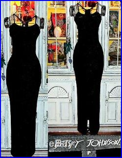 Betsey Johnson Dress VINTAGE Black Sparkle Long Maxi Slip Cocktail Gown S 2 4 6