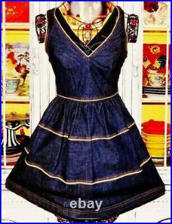Betsey Johnson Dress VINTAGE Blue DENIM Jean RUNWAY Skater FIT & FLARE Party 4 S