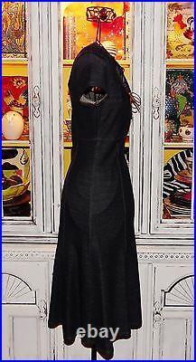 Betsey Johnson Dress VINTAGE Blue Jean DENIM LOOK Corset LACE UP Stretch S 2 4 6