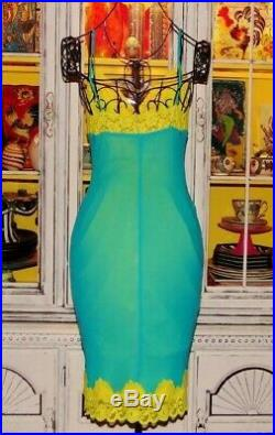 Betsey Johnson Dress VINTAGE Turquoise Blue Yellow LACE Pinup Party Slip S 2 4 6