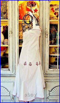 Betsey Johnson Dress VINTAGE White Embroider Anchors Rockabilly Skater Party 2 S