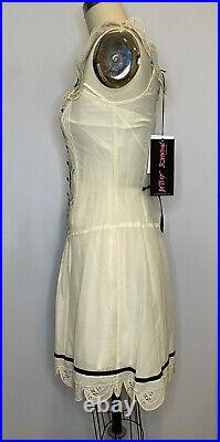 Betsey Johnson Floral Vintage lace Dress with matching slip Cream size 2 New