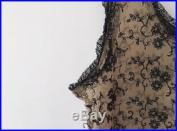Betsey Johnson Long Maxi Mesh Embroidered Flower Rose Sheer Slip Dress Vtg 90s M