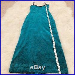 Betsey Johnson New York Slip Maxi Dress Velvet Burnout Floral Stretch SZ P