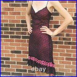 Betsey Johnson Pink and Black Eyelet Slip Dress Size 4 NWT Y2K Vintage