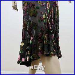 Betsey Johnson Sheer Dress Vintage Crushed Velvet Floral Slip Size Large