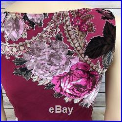 Betsey Johnson Size 6 Vintage Dress Crushed Velvet floral Red Slip Dress silk