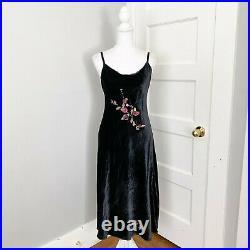 Betsey Johnson Ultra Vintage Black Velour Velvet Midi Slip Dress Floral Medium