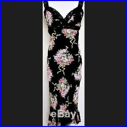Betsey Johnson V-Neck Black/Multi Color FLORAL COCKTAIL WEDDING Slip Sundress M