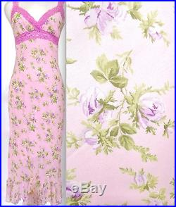 Betsey Johnson V-Neck Pink/Multi Color FLORAL COCKTAIL WEDDING Slip Sundress M/L