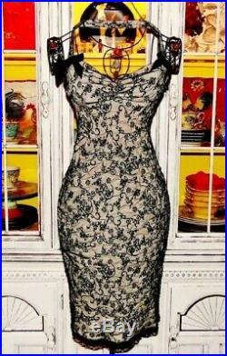 Betsey Johnson VINTAGE Dress BLACK FLORAL Wiggle Pinup Mesh Party Prom Slip 2 S