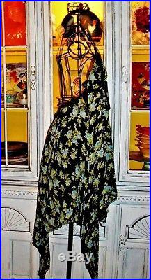 Betsey Johnson VINTAGE Dress BLUE ROSE Black BACKLESS Floral SLIP S M 2 4 6 8