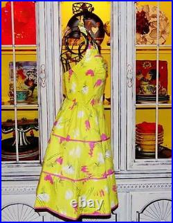 Betsey Johnson VINTAGE Dress BUMBLE BEE Yellow Rockabilly Tea Party 0 2 4 XS S