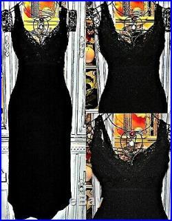Betsey Johnson VINTAGE Dress Black Stretch Evening Cocktail Party Slip S 2 4 6