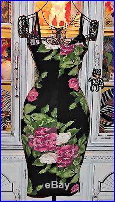 Betsey Johnson VINTAGE Dress CABBAGE ROSE Floral WRAP TOP Black Slip S 2 4 6