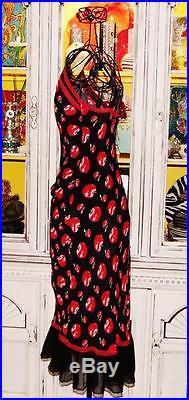Betsey Johnson VINTAGE Dress CHERRY RED APPLE Black LACE Mesh RUFFLE Slip M 6 8