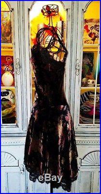 Betsey Johnson VINTAGE Dress CRUSHED VELVET Black FLORAL ROSE Lace SLIP 4 S