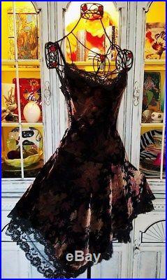 Betsey Johnson VINTAGE Dress CRUSHED VELVET Black FLORAL ROSE Lace SLIP 6 S 8
