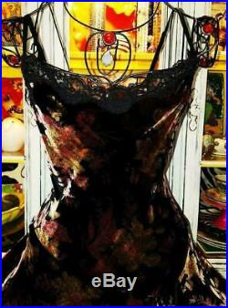 Betsey Johnson VINTAGE Dress CRUSHED VELVET Black Floral Rose Victorian SLIP 4 S